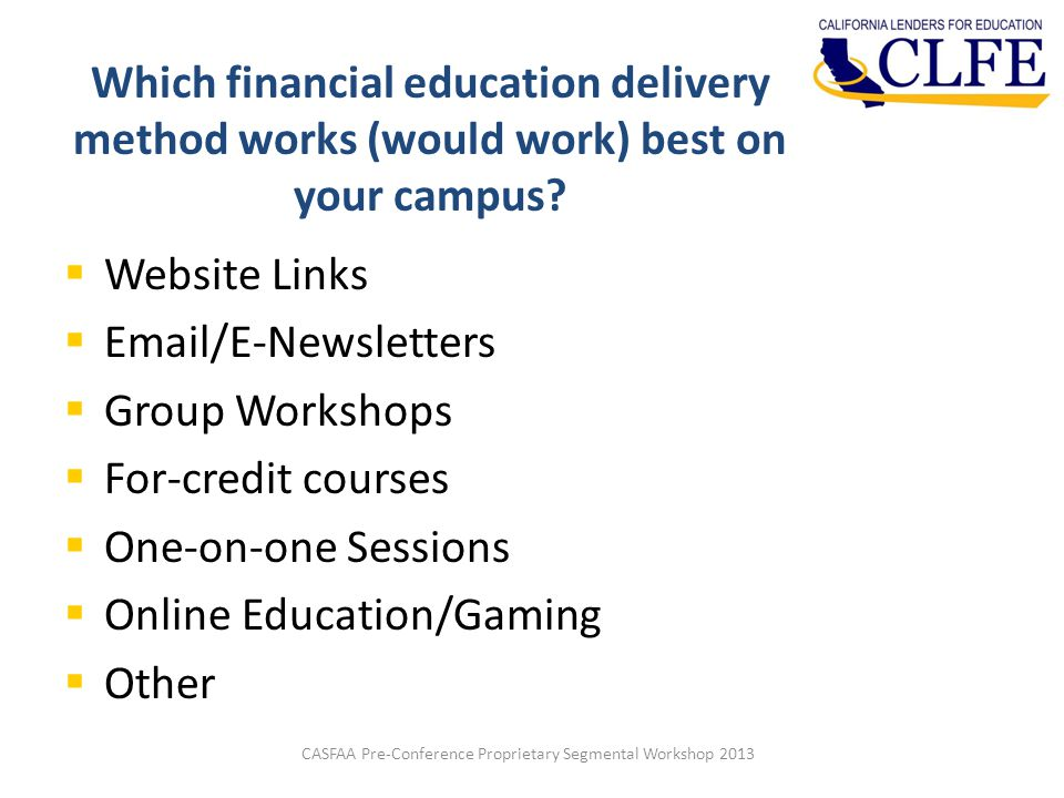 Which financial education delivery method works (would work) best on your campus.
