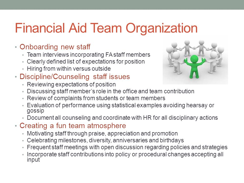 Financial Aid Team Organization Onboarding new staff Team interviews incorporating FA staff members Clearly defined list of expectations for position Hiring from within versus outside Discipline/Counseling staff issues Reviewing expectations of position Discussing staff member's role in the office and team contribution Review of complaints from students or team members Evaluation of performance using statistical examples avoiding hearsay or gossip Document all counseling and coordinate with HR for all disciplinary actions Creating a fun team atmosphere Motivating staff through praise, appreciation and promotion Celebrating milestones, diversity, anniversaries and birthdays Frequent staff meetings with open discussion regarding policies and strategies Incorporate staff contributions into policy or procedural changes accepting all input