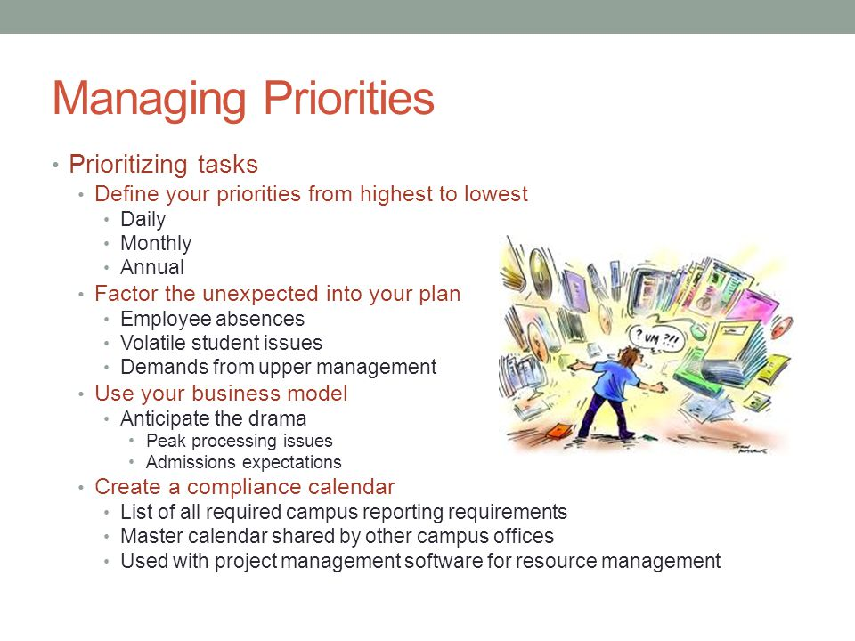 Managing Priorities Prioritizing tasks Define your priorities from highest to lowest Daily Monthly Annual Factor the unexpected into your plan Employee absences Volatile student issues Demands from upper management Use your business model Anticipate the drama Peak processing issues Admissions expectations Create a compliance calendar List of all required campus reporting requirements Master calendar shared by other campus offices Used with project management software for resource management