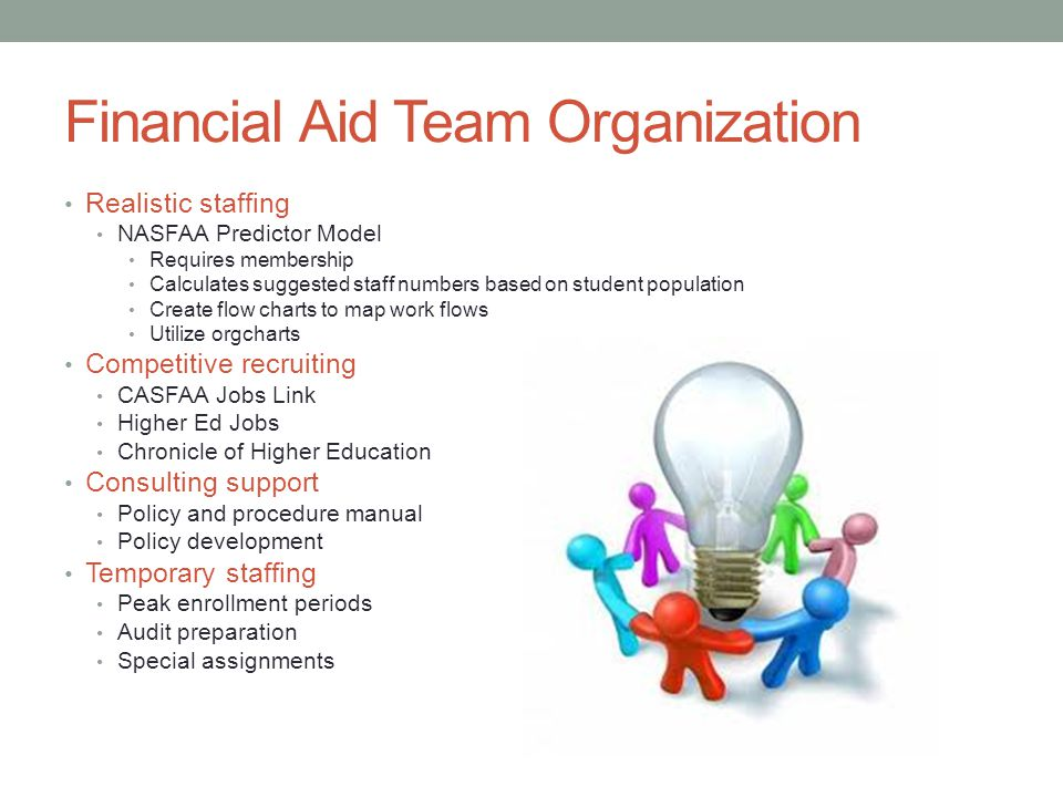 Financial Aid Team Organization Realistic staffing NASFAA Predictor Model Requires membership Calculates suggested staff numbers based on student population Create flow charts to map work flows Utilize orgcharts Competitive recruiting CASFAA Jobs Link Higher Ed Jobs Chronicle of Higher Education Consulting support Policy and procedure manual Policy development Temporary staffing Peak enrollment periods Audit preparation Special assignments