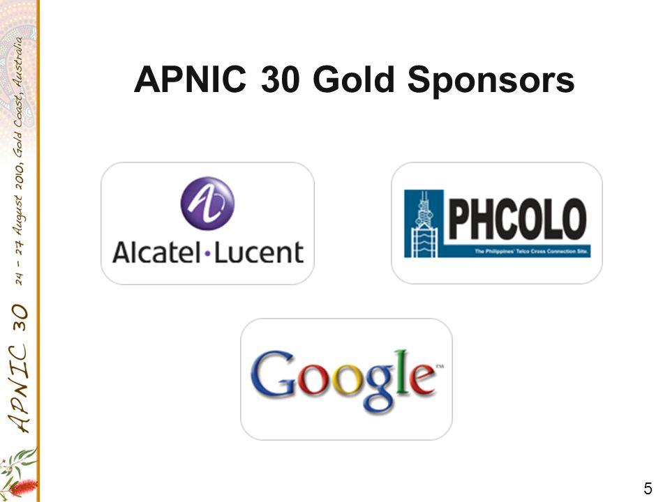 5 APNIC 30 Gold Sponsors