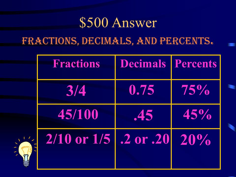 $500 Question Fractions, Decimals, and Percents.
