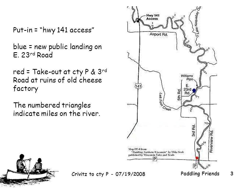 """Crivitz to cty P - 07/19/2008 Paddling Friends3 Put-in = """"hwy 141 access"""" blue = new public landing on E. 23 rd Road red = Take-out at cty P & 3 rd Ro"""