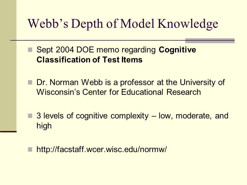 Webb's Depth of Model Knowledge Sept 2004 DOE memo regarding Cognitive Classification of Test Items Dr.