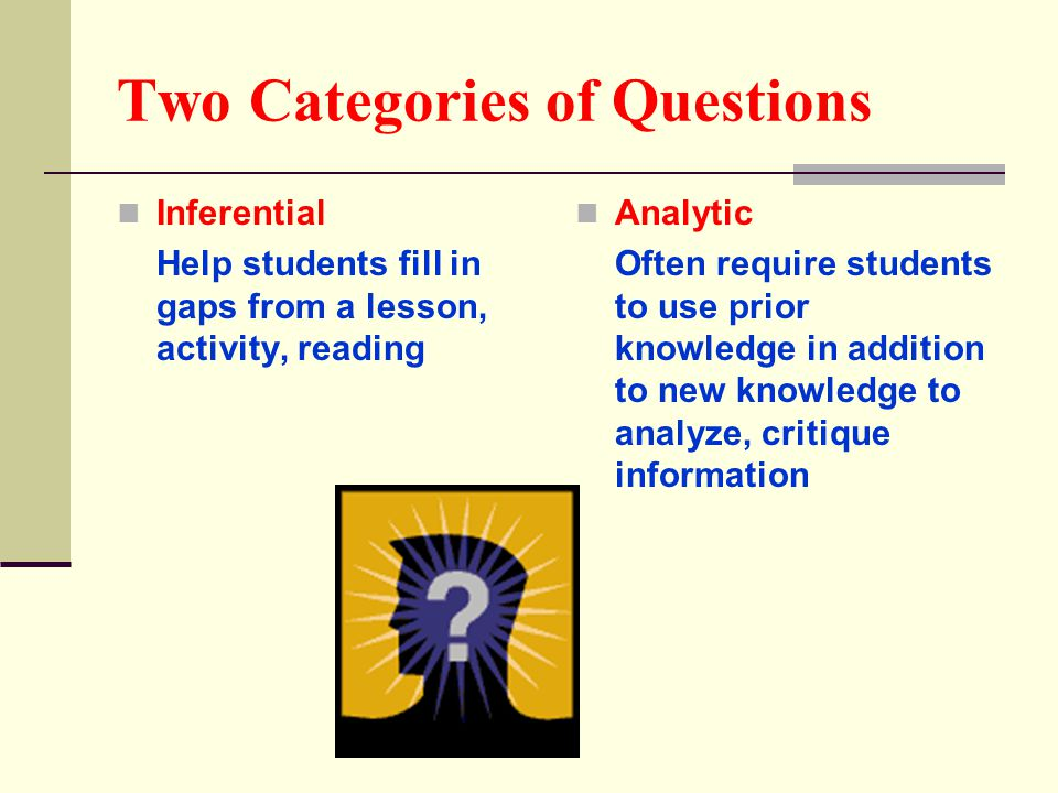 Two Categories of Questions Inferential Help students fill in gaps from a lesson, activity, reading Analytic Often require students to use prior knowl