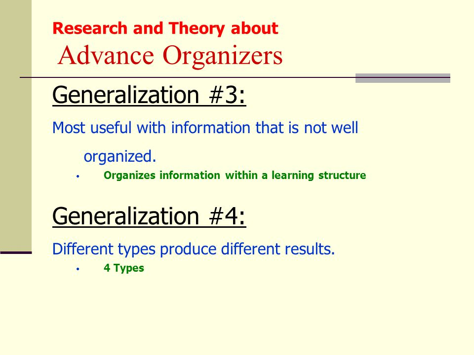 Research and Theory about Advance Organizers Generalization #3: Most useful with information that is not well organized. Organizes information within