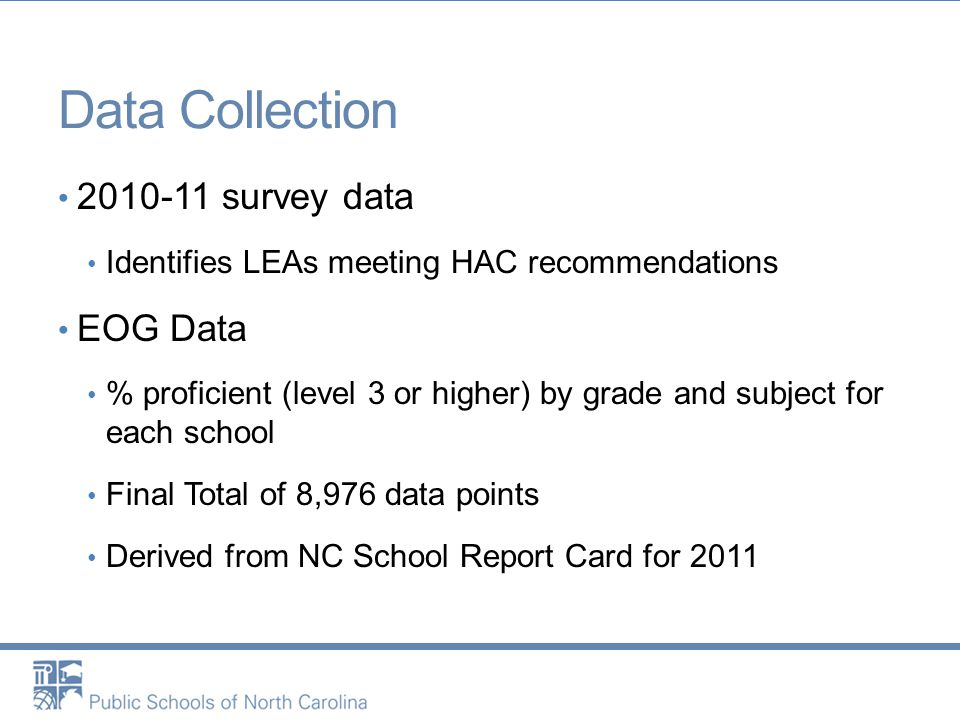 Data Collection 2010-11 survey data Identifies LEAs meeting HAC recommendations EOG Data % proficient (level 3 or higher) by grade and subject for each school Final Total of 8,976 data points Derived from NC School Report Card for 2011