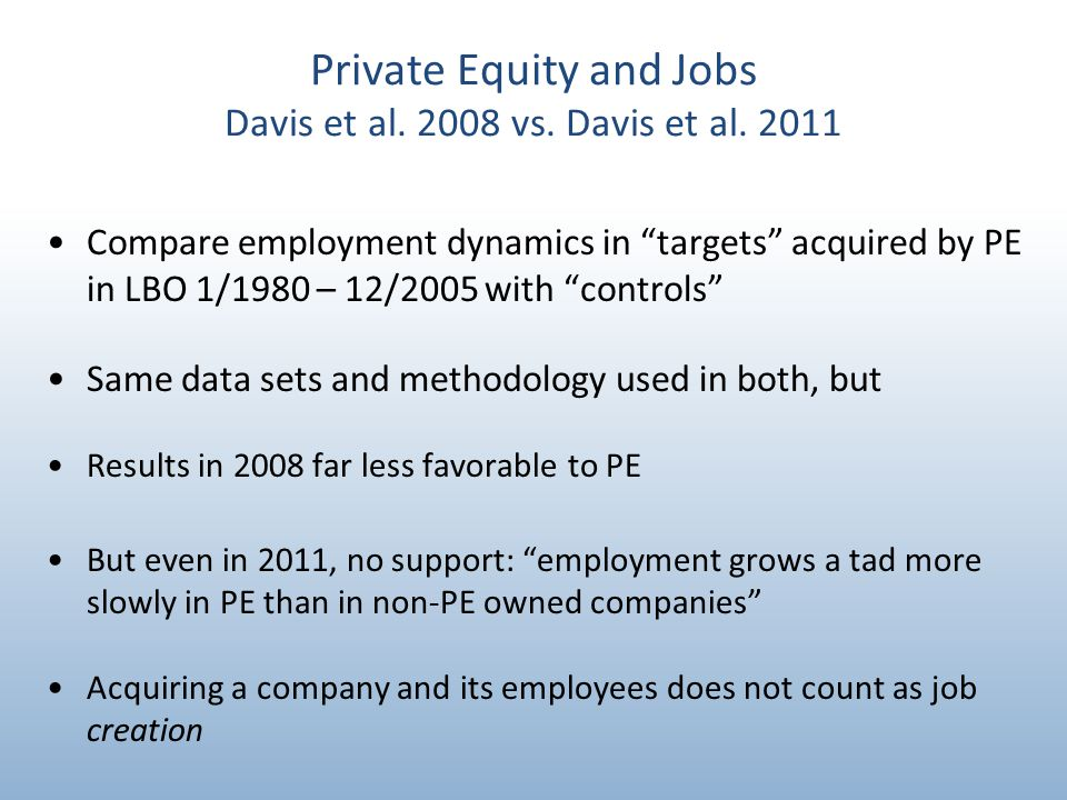 Private Equity and Jobs Davis et al. 2008 vs. Davis et al.
