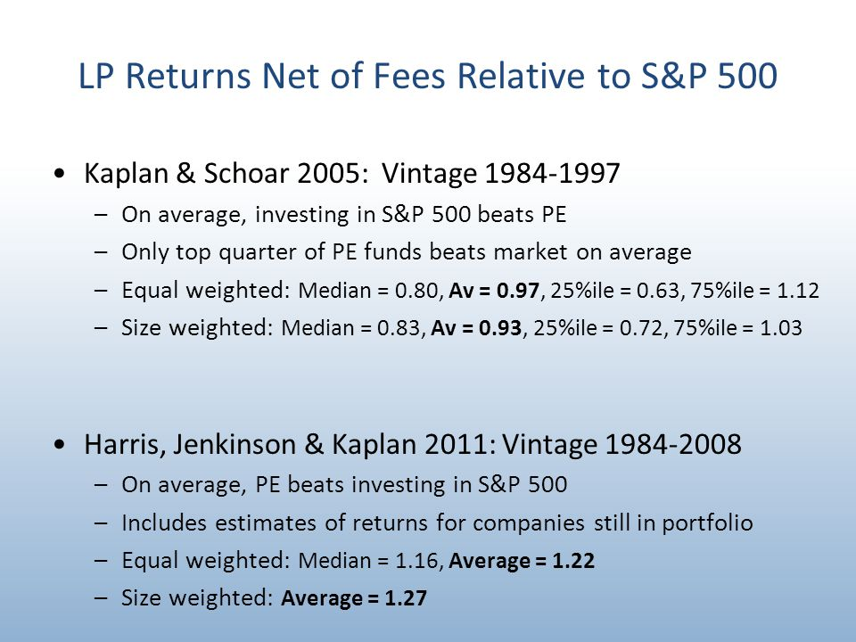 LP Returns Net of Fees Relative to S&P 500 Kaplan & Schoar 2005: Vintage 1984-1997 –On average, investing in S&P 500 beats PE –Only top quarter of PE funds beats market on average –Equal weighted: Median = 0.80, Av = 0.97, 25%ile = 0.63, 75%ile = 1.12 –Size weighted: Median = 0.83, Av = 0.93, 25%ile = 0.72, 75%ile = 1.03 Harris, Jenkinson & Kaplan 2011: Vintage 1984-2008 –On average, PE beats investing in S&P 500 –Includes estimates of returns for companies still in portfolio –Equal weighted: Median = 1.16, Average = 1.22 –Size weighted: Average = 1.27