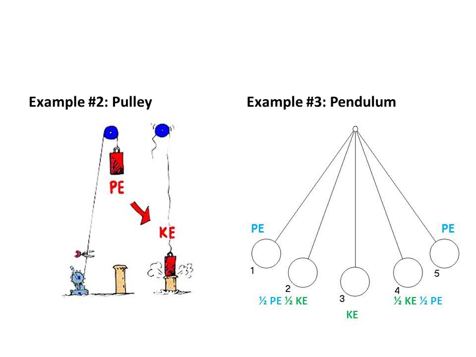 Example #2: PulleyExample #3: Pendulum PE ½ PE ½ KE½ KE ½ PE KE