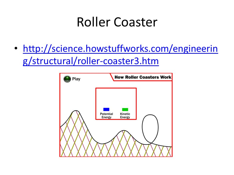 Roller Coaster http://science.howstuffworks.com/engineerin g/structural/roller-coaster3.htm http://science.howstuffworks.com/engineerin g/structural/r