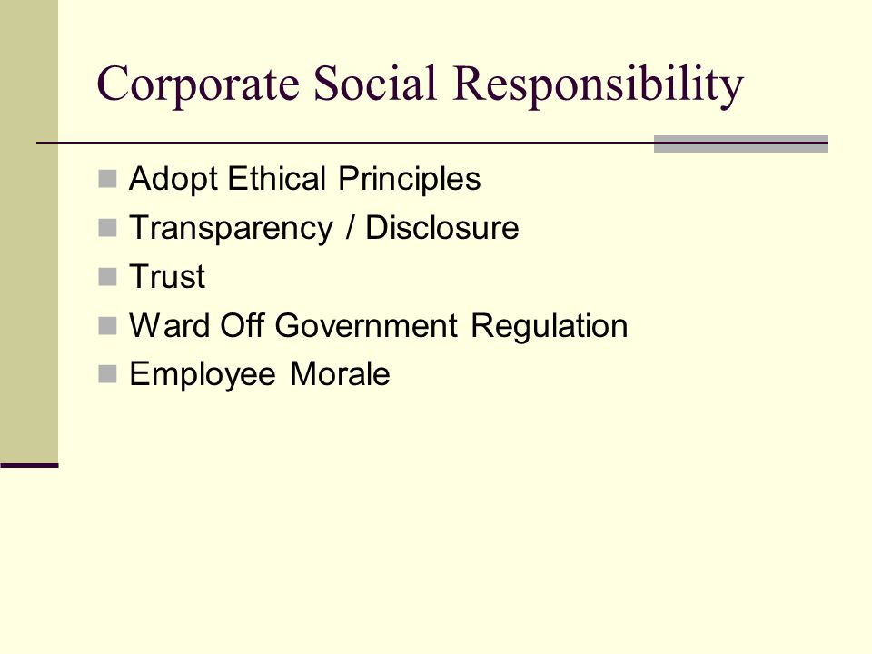 Corporate Social Responsibility Adopt Ethical Principles Transparency / Disclosure Trust Ward Off Government Regulation Employee Morale