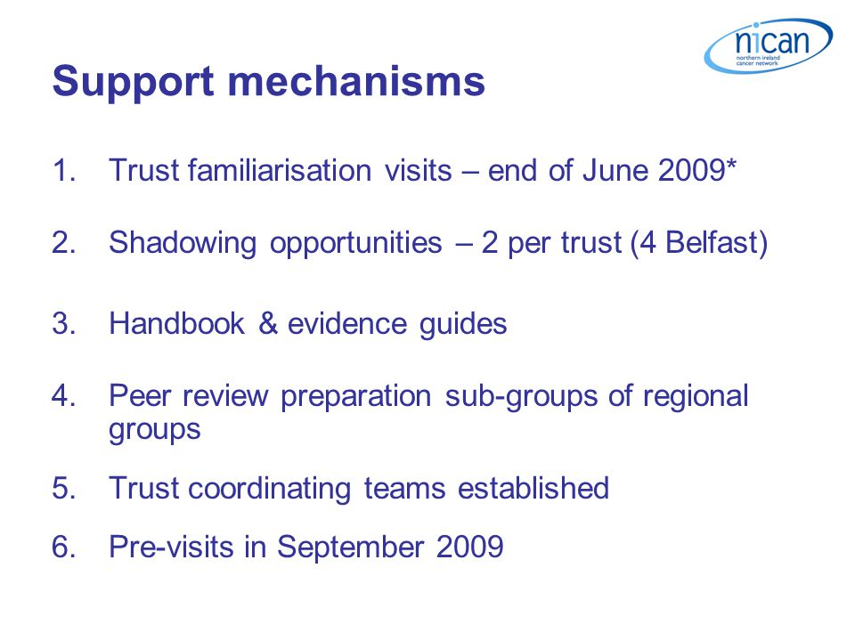 Support mechanisms 1.Trust familiarisation visits – end of June 2009* 2.Shadowing opportunities – 2 per trust (4 Belfast) 3.Handbook & evidence guides 4.Peer review preparation sub-groups of regional groups 5.