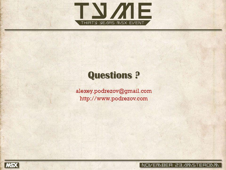 Questions alexey.podrezov@gmail.com http://www.podrezov.com