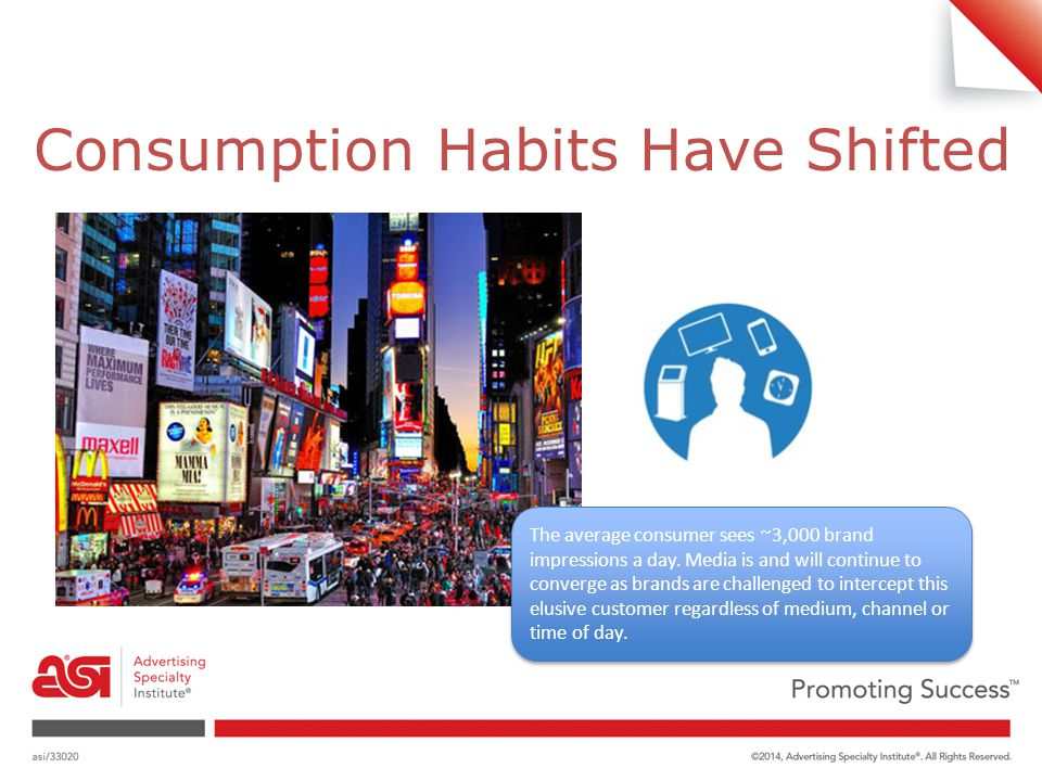 Consumption Habits Have Shifted The average consumer sees ~3,000 brand impressions a day.