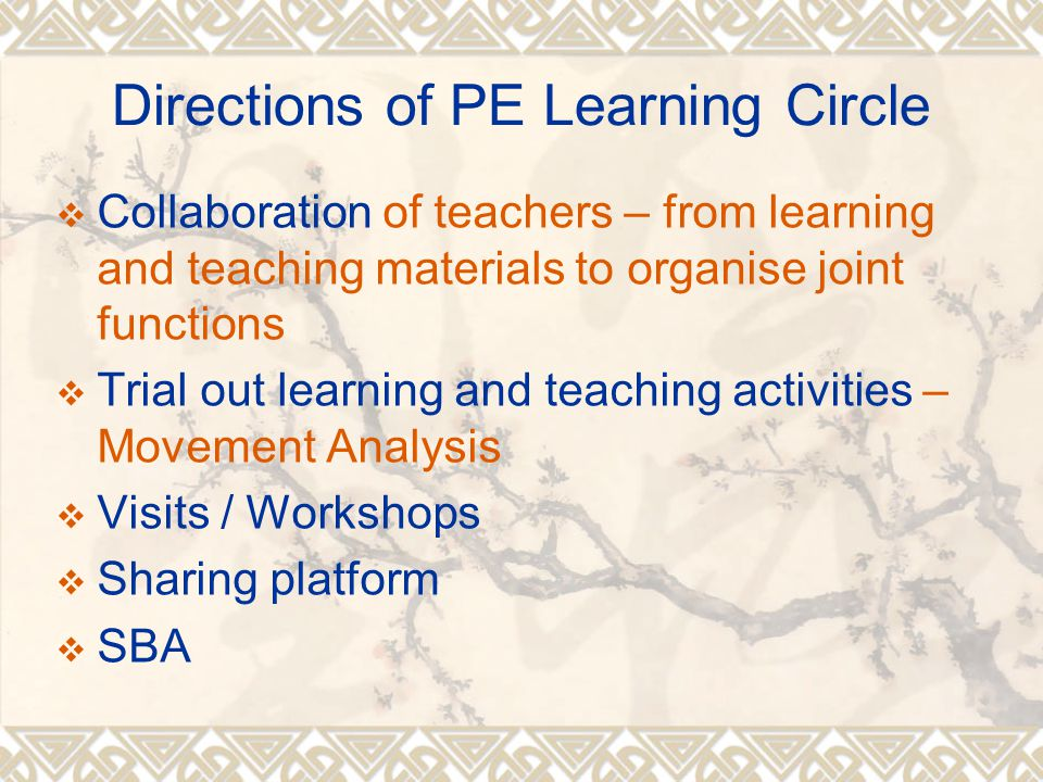 Directions of PE Learning Circle  Collaboration of teachers – from learning and teaching materials to organise joint functions  Trial out learning and teaching activities – Movement Analysis  Visits / Workshops  Sharing platform  SBA