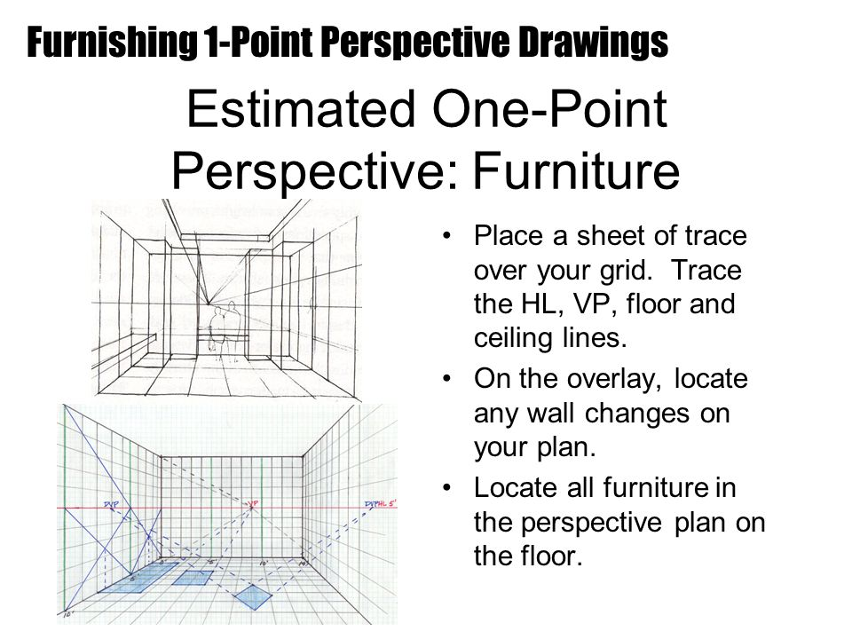 Estimated One-Point Perspective: Furniture Place a sheet of trace over your grid.