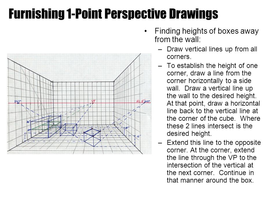 Finding heights of boxes away from the wall: –Draw vertical lines up from all corners.