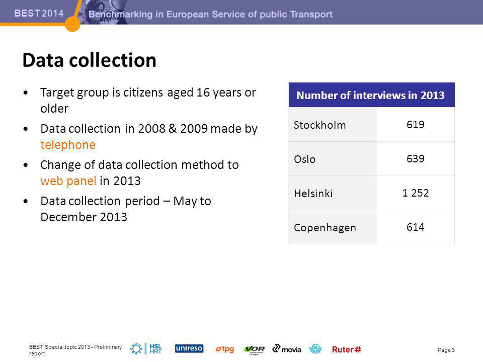 BEST 2014 Target group is citizens aged 16 years or older Data collection in 2008 & 2009 made by telephone Change of data collection method to web panel in 2013 Data collection period – May to December 2013 Data collection BEST Special topic 2013 - Preliminary report Page 3 Number of interviews in 2013 Stockholm619 Oslo639 Helsinki1 252 Copenhagen614