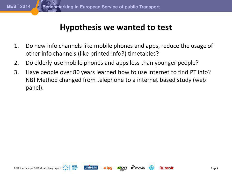 BEST 2014 Hypothesis we wanted to test 1.Do new info channels like mobile phones and apps, reduce the usage of other info channels (like printed info ) timetables.
