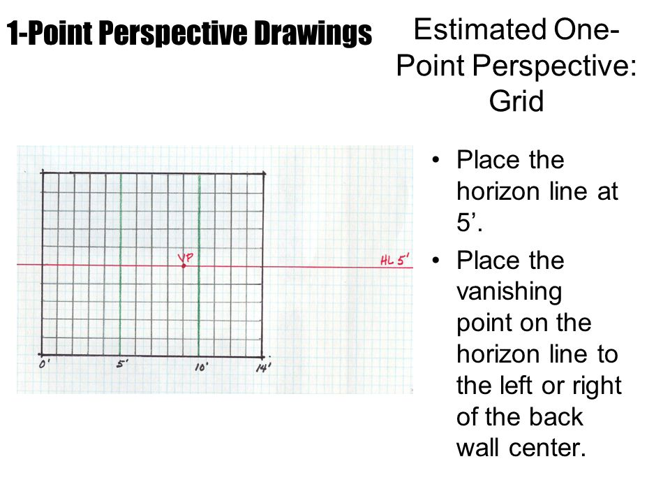 Place the horizon line at 5'. Place the vanishing point on the horizon line to the left or right of the back wall center. 1-Point Perspective Drawings