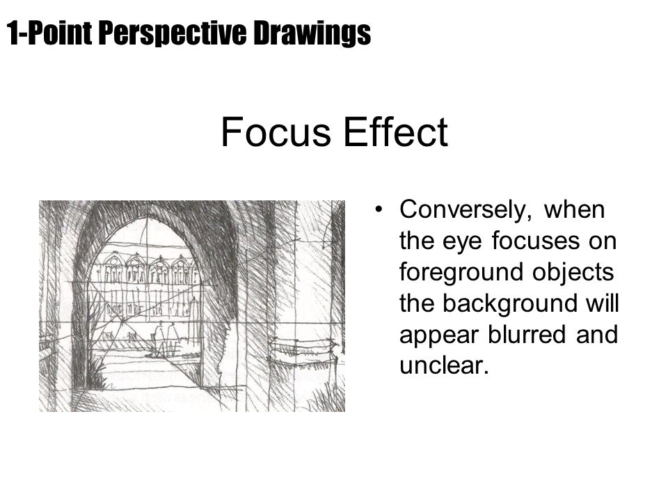 Focus Effect Conversely, when the eye focuses on foreground objects the background will appear blurred and unclear. 1-Point Perspective Drawings