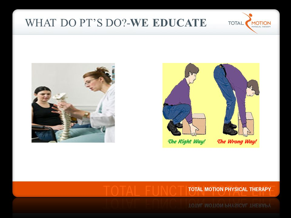 WHAT DO PT'S DO?-WE EDUCATE