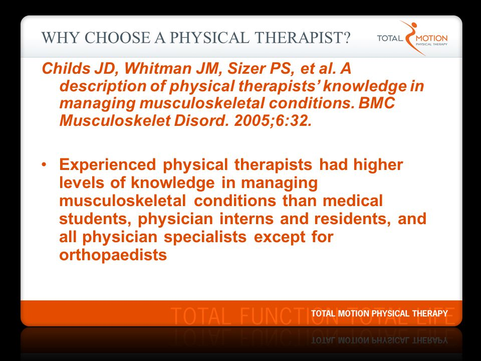 WHY CHOOSE A PHYSICAL THERAPIST.Childs JD, Whitman JM, Sizer PS, et al.
