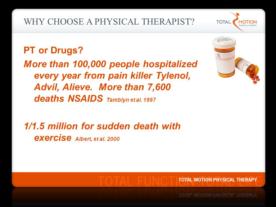 WHY CHOOSE A PHYSICAL THERAPIST? PT or Drugs? More than 100,000 people hospitalized every year from pain killer Tylenol, Advil, Alieve. More than 7,60