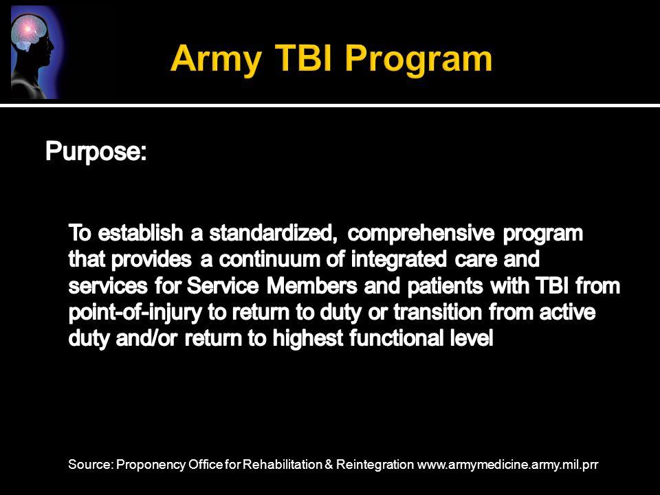 Source: Proponency Office for Rehabilitation & Reintegration www.armymedicine.army.mil.prr