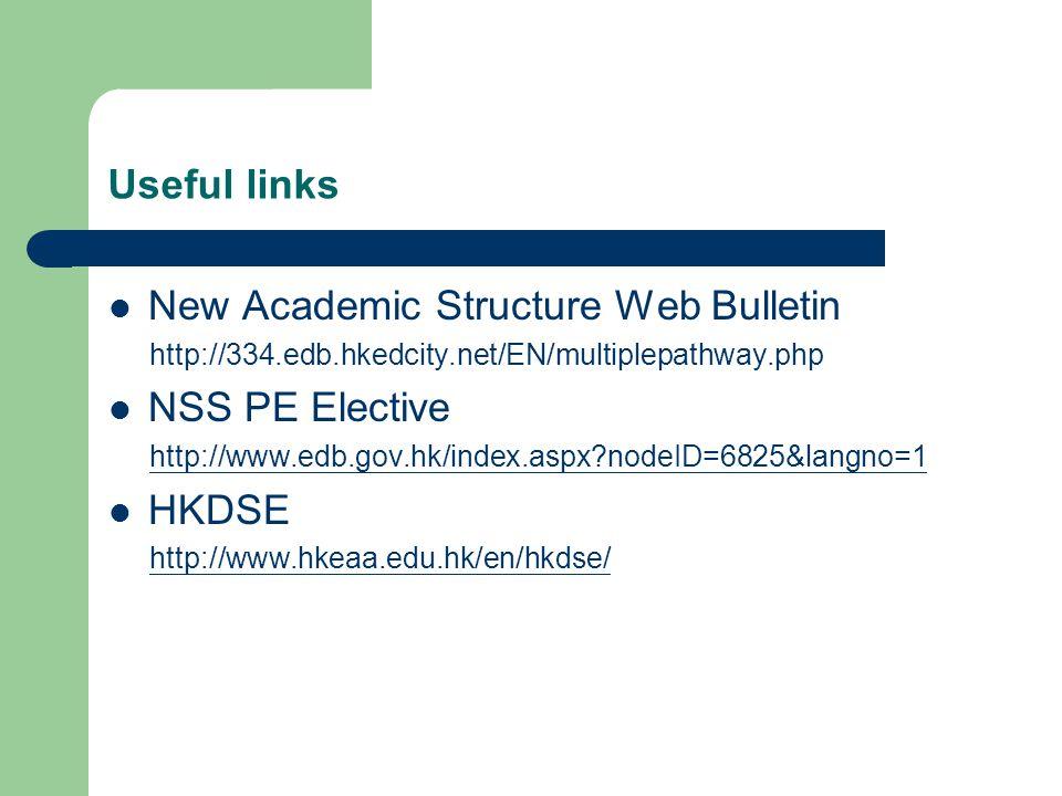 Useful links New Academic Structure Web Bulletin http://334.edb.hkedcity.net/EN/multiplepathway.php NSS PE Elective http://www.edb.gov.hk/index.aspx?nodeID=6825&langno=1 HKDSE http://www.hkeaa.edu.hk/en/hkdse/