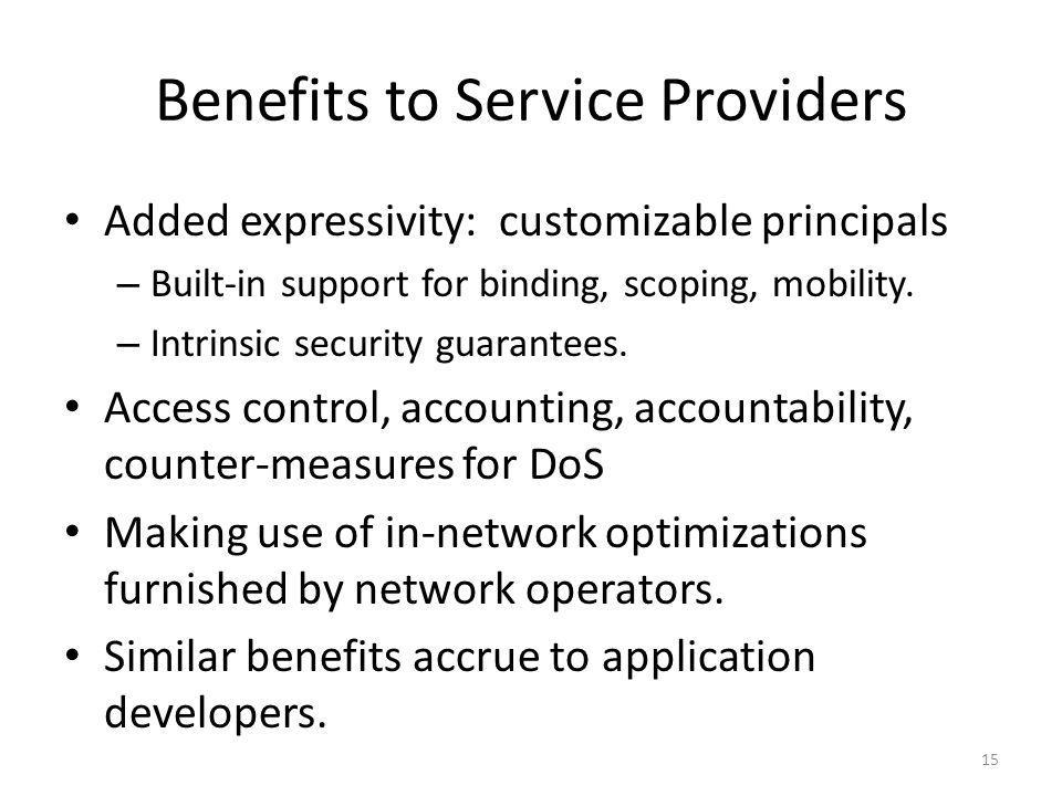 Benefits to Service Providers Added expressivity: customizable principals – Built-in support for binding, scoping, mobility.