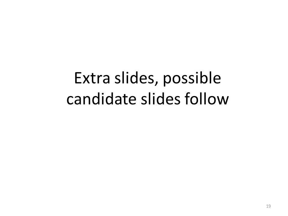 Extra slides, possible candidate slides follow 19