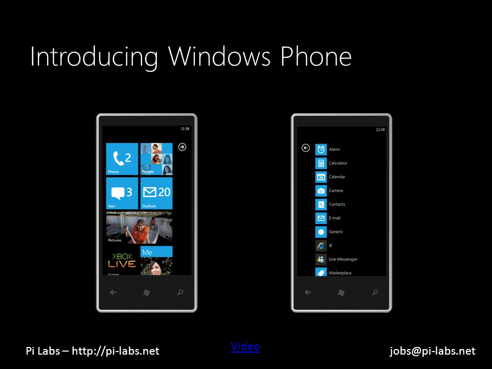 Introducing Windows Phone Video Pi Labs – http://pi-labs.netjobs@pi-labs.net