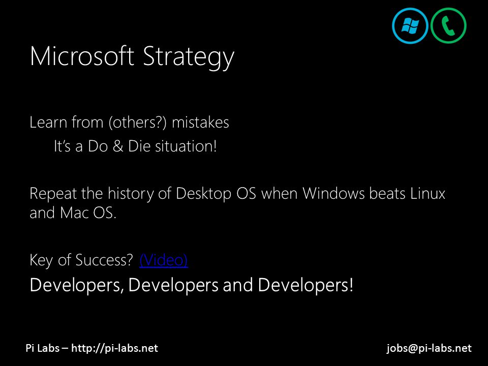 Microsoft Strategy Learn from (others?) mistakes It's a Do & Die situation.