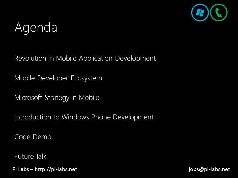 Agenda Revolution In Mobile Application Development Mobile Developer Ecosystem Microsoft Strategy in Mobile Introduction to Windows Phone Development Code Demo Future Talk Pi Labs – http://pi-labs.netjobs@pi-labs.net