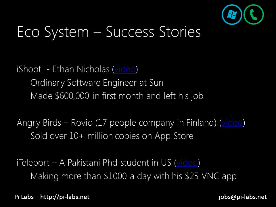 Eco System – Success Stories iShoot - Ethan Nicholas (video)video Ordinary Software Engineer at Sun Made $600,000 in first month and left his job Angry Birds – Rovio (17 people company in Finland) (video)video Sold over 10+ million copies on App Store iTeleport – A Pakistani Phd student in US (video)video Making more than $1000 a day with his $25 VNC app Pi Labs – http://pi-labs.netjobs@pi-labs.net