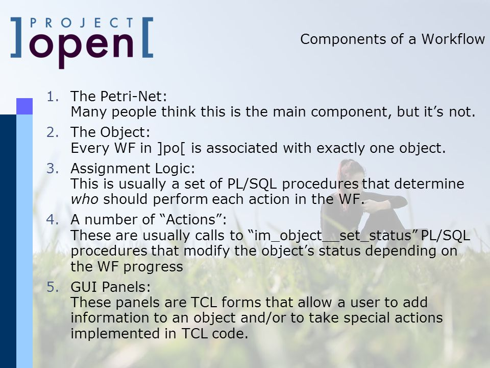 Components of a Workflow 1.The Petri-Net: Many people think this is the main component, but it's not.