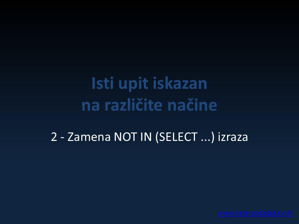 Isti upit iskazan na različite načine 2 - Zamena NOT IN (SELECT...) izraza www.baze-podataka.net