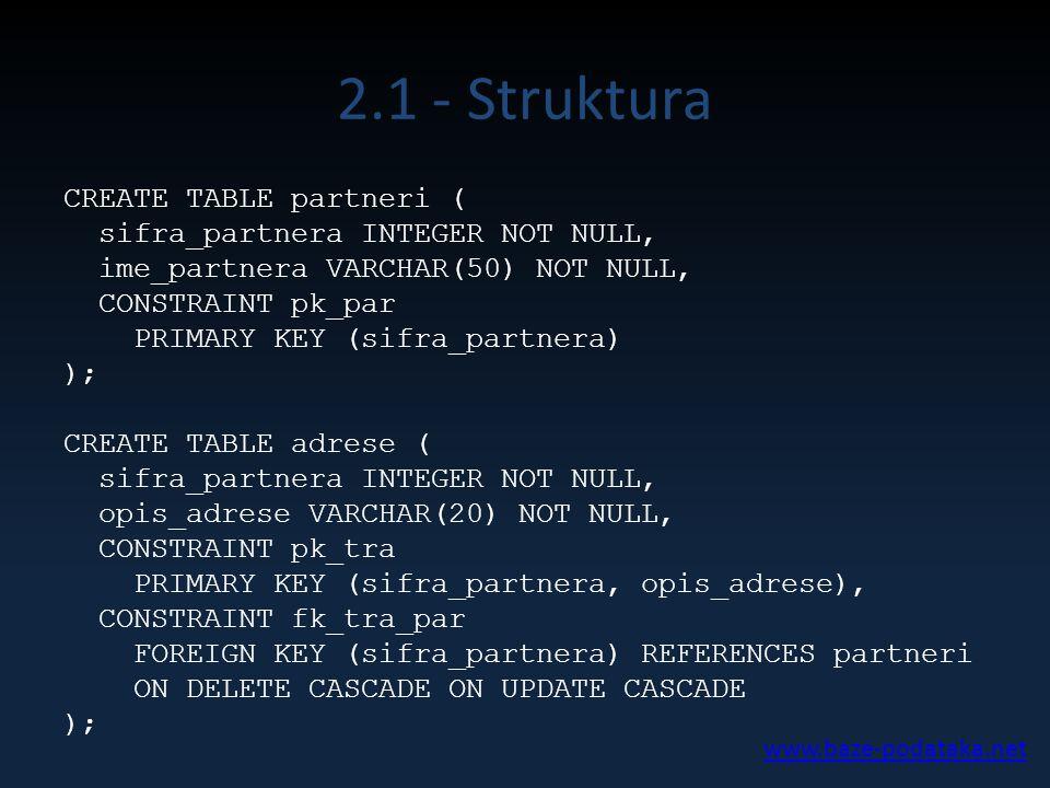 2.1 - Struktura CREATE TABLE partneri ( sifra_partnera INTEGER NOT NULL, ime_partnera VARCHAR(50) NOT NULL, CONSTRAINT pk_par PRIMARY KEY (sifra_partnera) ); CREATE TABLE adrese ( sifra_partnera INTEGER NOT NULL, opis_adrese VARCHAR(20) NOT NULL, CONSTRAINT pk_tra PRIMARY KEY (sifra_partnera, opis_adrese), CONSTRAINT fk_tra_par FOREIGN KEY (sifra_partnera) REFERENCES partneri ON DELETE CASCADE ON UPDATE CASCADE ); www.baze-podataka.net