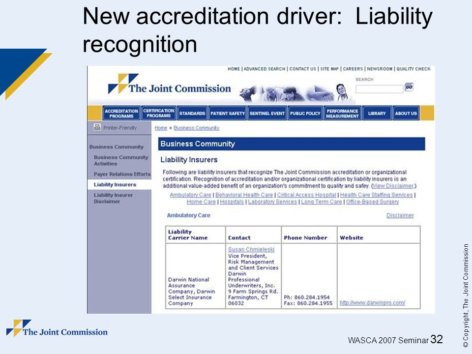 WASCA 2007 Seminar 32 © Copyright, The Joint Commission New accreditation driver: Liability recognition
