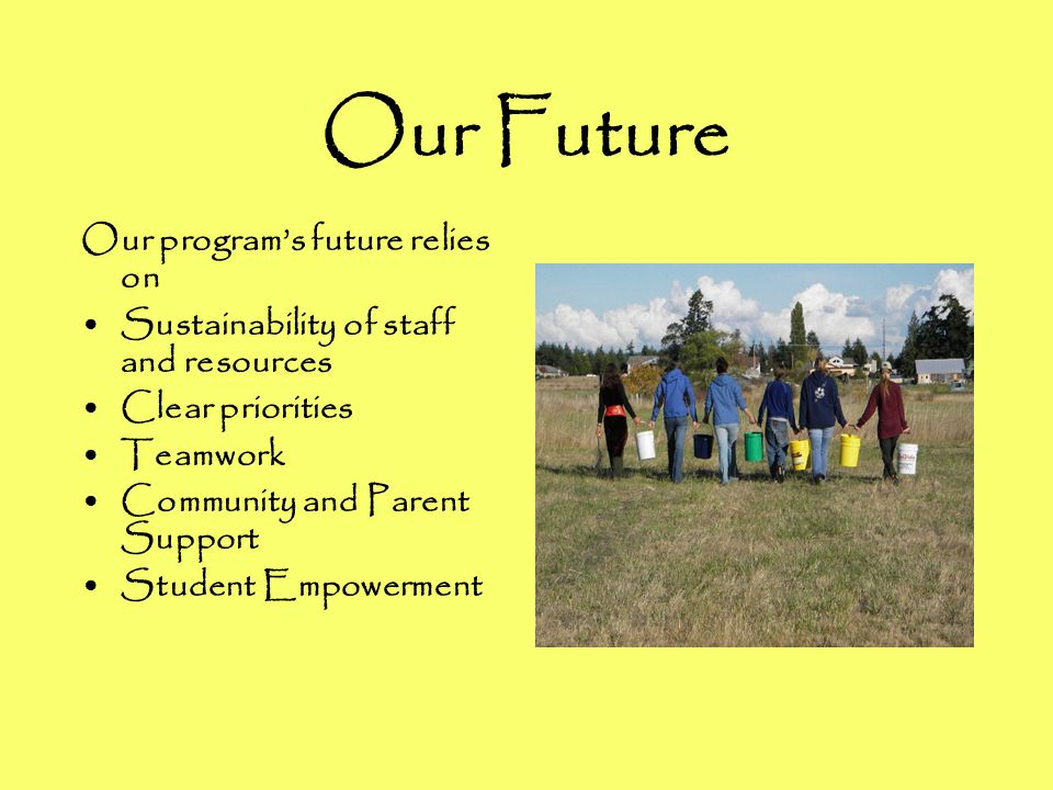Our Future Our program's future relies on Sustainability of staff and resources Clear priorities Teamwork Community and Parent Support Student Empowerment