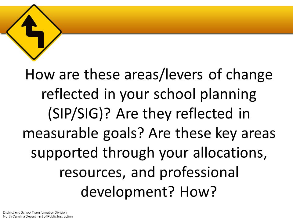 How are these areas/levers of change reflected in your school planning (SIP/SIG).