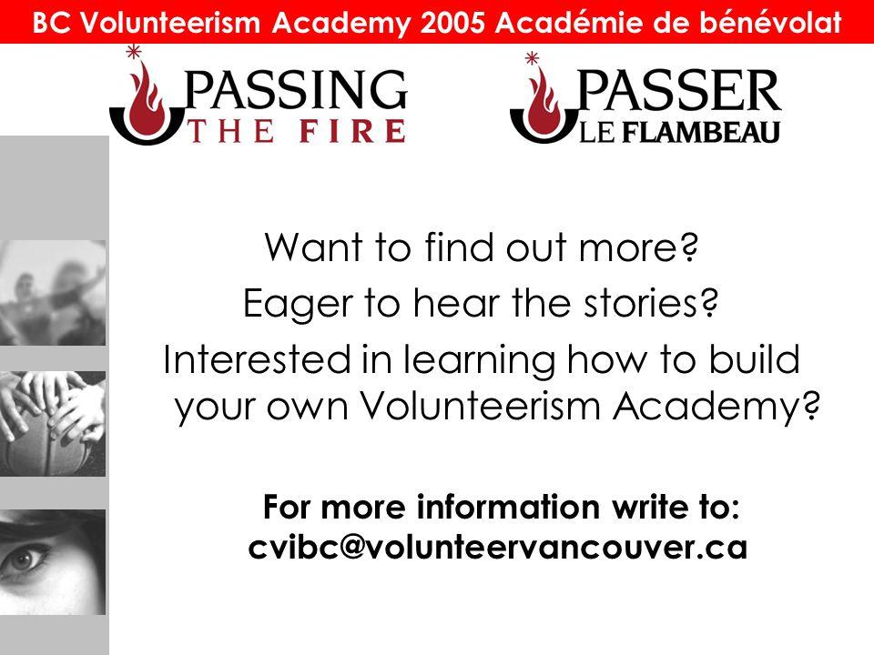 BC Volunteerism Academy 2005 Académie de bénévolat Want to find out more.