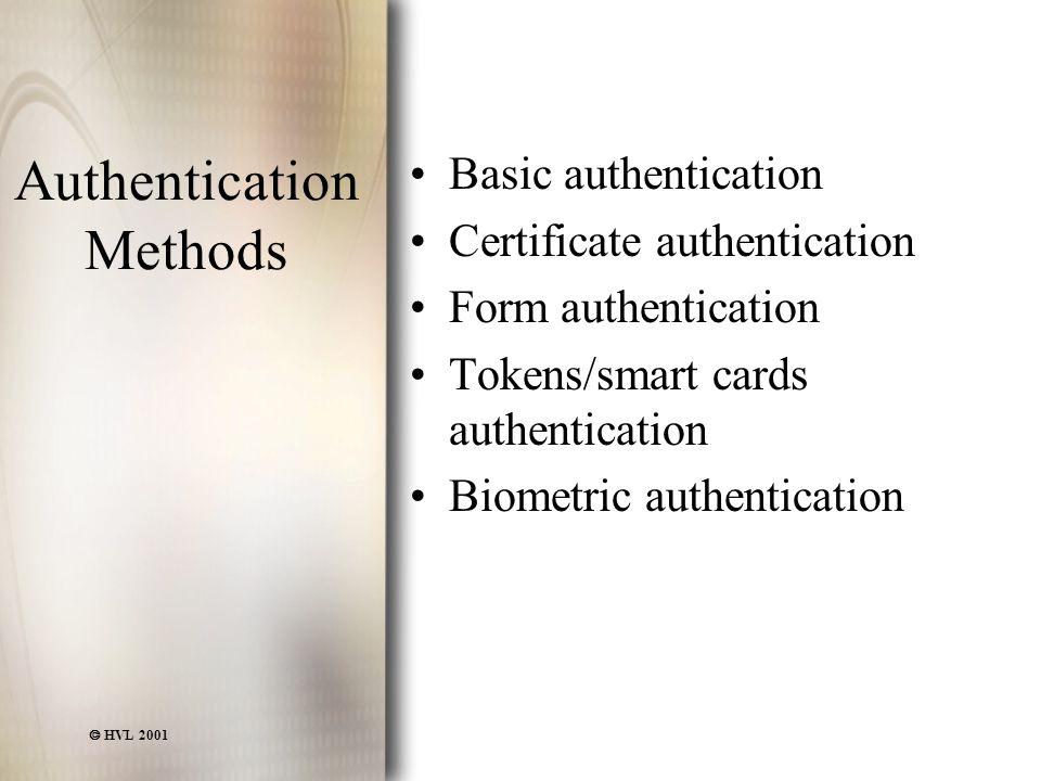  HVL 2001 Authentication Methods Basic authentication Certificate authentication Form authentication Tokens/smart cards authentication Biometric auth