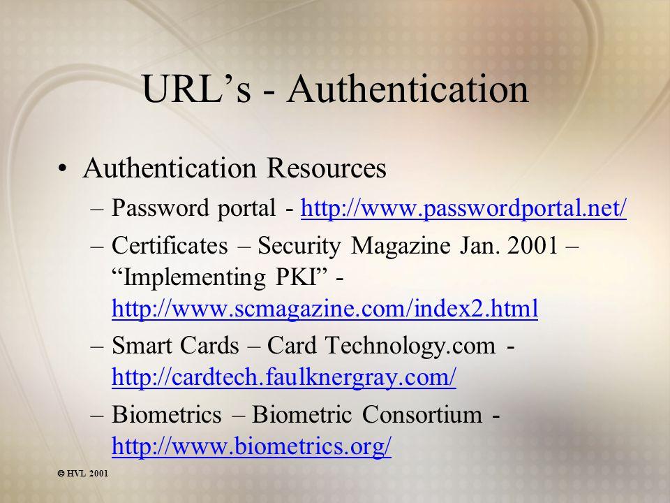  HVL 2001 URL's - Authentication Authentication Resources –Password portal - http://www.passwordportal.net/http://www.passwordportal.net/ –Certificat