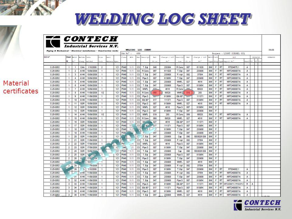 WELDING LOG SHEET Material certificates