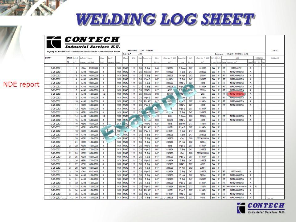 WELDING LOG SHEET NDE report
