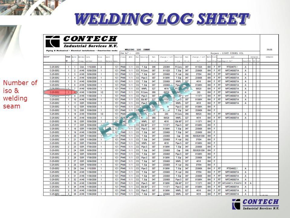 WELDING LOG SHEET Number of iso & welding seam