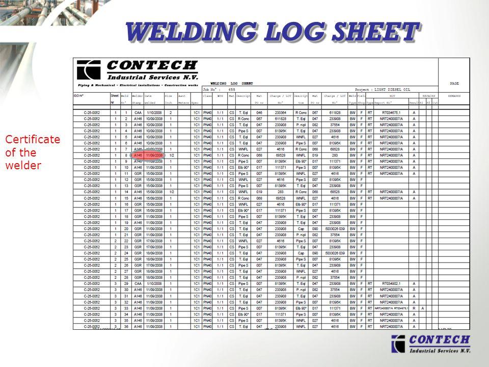 WELDING LOG SHEET Certificate of the welder